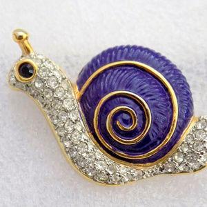 vintage rhinestone pave enamel snail brooch pin